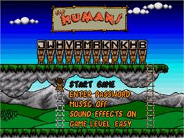 Title screen of Humans, The on the Sega Nomad.
