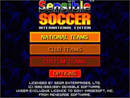 Title screen of International Sensible Soccer on the Sega Nomad.