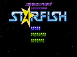 Title screen of James Pond 3: Operation Starfish on the Sega Nomad.