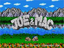 Title screen of Joe & Mac: Caveman Ninja on the Sega Nomad.