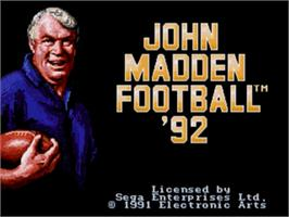 Title screen of John Madden Football '92 on the Sega Nomad.