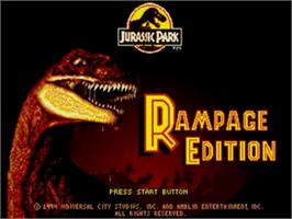 Title screen of Jurassic Park - Rampage Edition on the Sega Nomad.