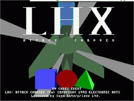 Title screen of LHX: Attack Chopper on the Sega Nomad.
