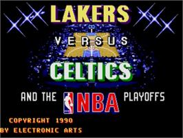 Title screen of Lakers vs. Celtics and the NBA Playoffs on the Sega Nomad.