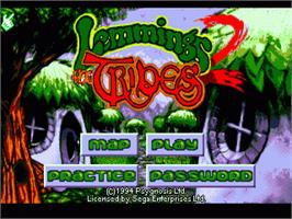 Title screen of Lemmings 2: The Tribes on the Sega Nomad.