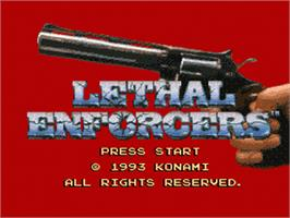 Title screen of Lethal Enforcers on the Sega Nomad.
