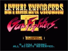Title screen of Lethal Enforcers II: Gun Fighters on the Sega Nomad.