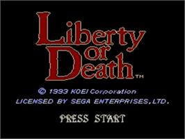 Title screen of Liberty or Death on the Sega Nomad.