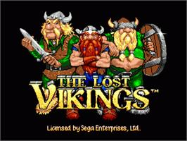 Title screen of Lost Vikings, The on the Sega Nomad.
