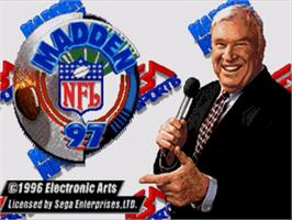 Title screen of Madden NFL '97 on the Sega Nomad.