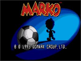 Title screen of Marko's Magic Football on the Sega Nomad.