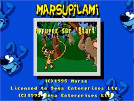 Title screen of Marsupilami on the Sega Nomad.