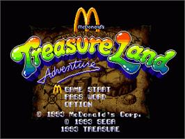 Title screen of McDonald's Treasure Land Adventure on the Sega Nomad.