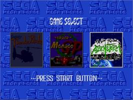 Title screen of Mega Games 3 on the Sega Nomad.