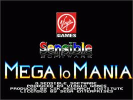 Title screen of Mega lo Mania on the Sega Nomad.