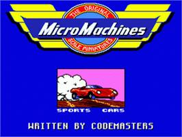 Title screen of Micro Machines: Turbo Tournament 96 on the Sega Nomad.