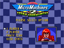 Title screen of Micro Machines 2: Turbo Tournament on the Sega Nomad.