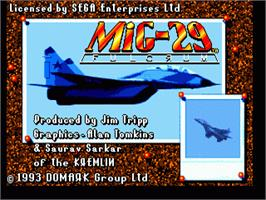 Title screen of Mig-29 Fighter Pilot on the Sega Nomad.