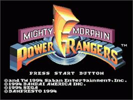 Title screen of Mighty Morphin Power Rangers on the Sega Nomad.