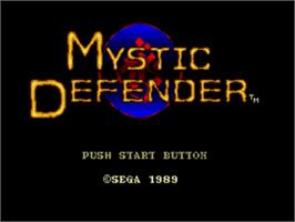 Title screen of Mystic Defender on the Sega Nomad.