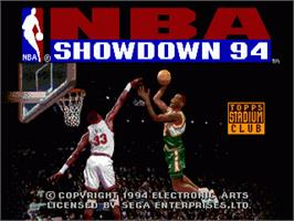 Title screen of NBA Showdown on the Sega Nomad.