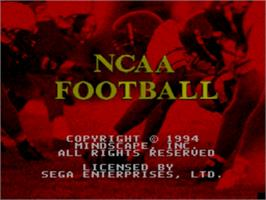 Title screen of NCAA Football on the Sega Nomad.