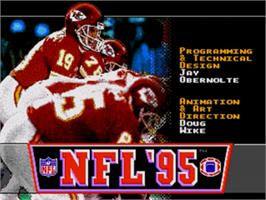 Title screen of NFL '95 on the Sega Nomad.