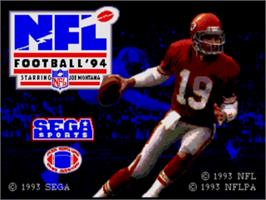 Title screen of NFL Football '94 Starring Joe Montana on the Sega Nomad.