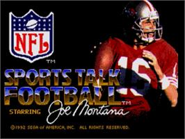 Title screen of NFL Sports Talk Football '93 Starring Joe Montana on the Sega Nomad.