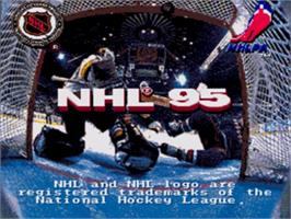 Title screen of NHL '95 on the Sega Nomad.