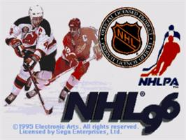Title screen of NHL '96 on the Sega Nomad.