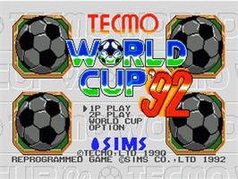 Title screen of Nintendo World Cup on the Sega Nomad.