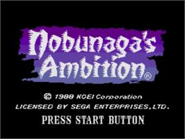 Title screen of Nobunaga's Ambition on the Sega Nomad.