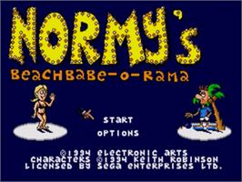 Title screen of Normy's Beach Babe-O-Rama on the Sega Nomad.