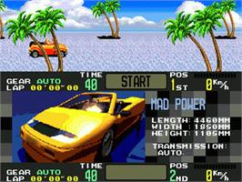 Title screen of OutRunners on the Sega Nomad.