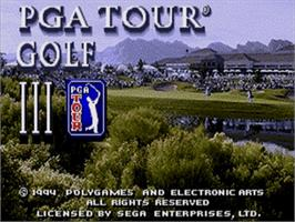 Title screen of PGA Tour Golf 3 on the Sega Nomad.