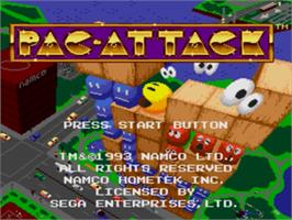 Title screen of Pac-Attack on the Sega Nomad.