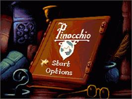 Title screen of Pinocchio on the Sega Nomad.