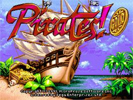 Title screen of Pirates! Gold on the Sega Nomad.