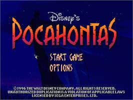 Title screen of Pocahontas on the Sega Nomad.