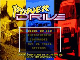 Title screen of Power Drive on the Sega Nomad.