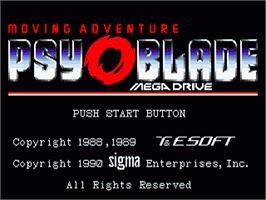 Title screen of Psy-O-Blade on the Sega Nomad.