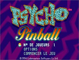 Title screen of Psycho Pinball on the Sega Nomad.