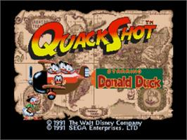 Title screen of QuackShot starring Donald Duck on the Sega Nomad.