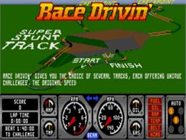 Title screen of Race Drivin' on the Sega Nomad.