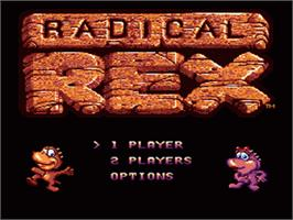 Title screen of Radical Rex on the Sega Nomad.