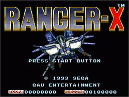 Title screen of Ranger X on the Sega Nomad.