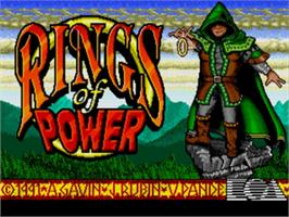 Title screen of Rings of Power on the Sega Nomad.