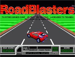 Title screen of Road Blasters on the Sega Nomad.