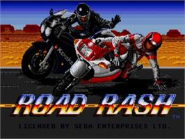 Title screen of Road Rash on the Sega Nomad.